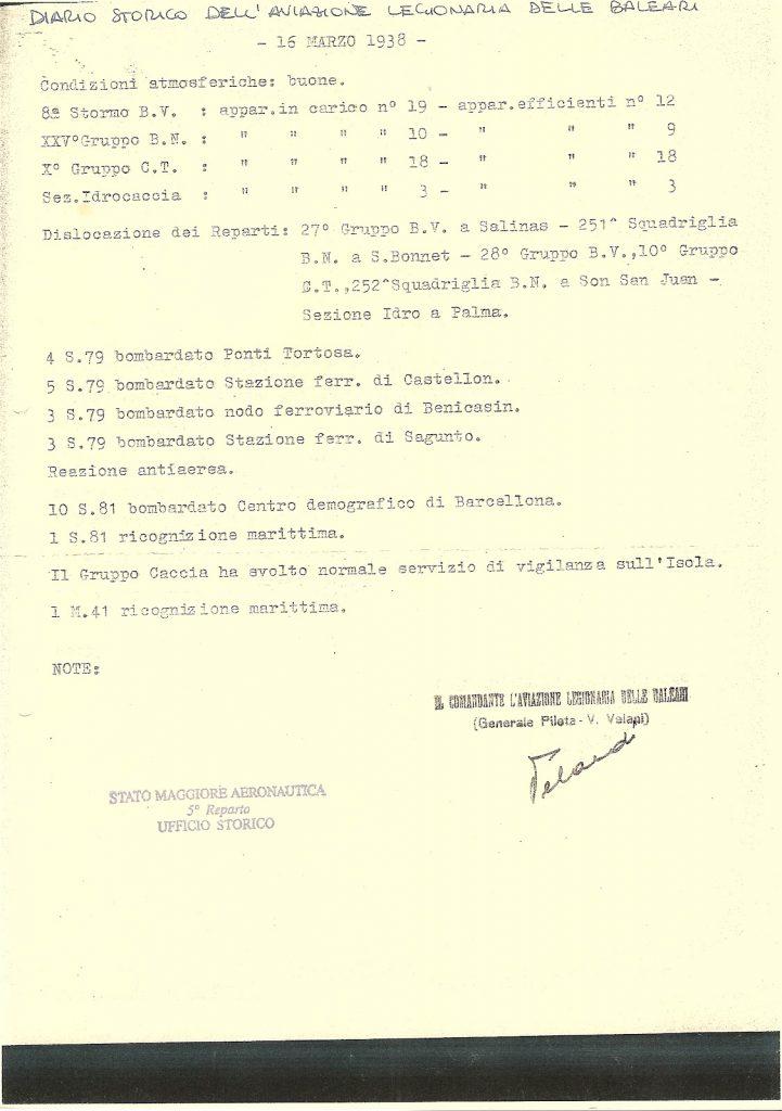 diario storico del l'aviazione legionaria delle baleari