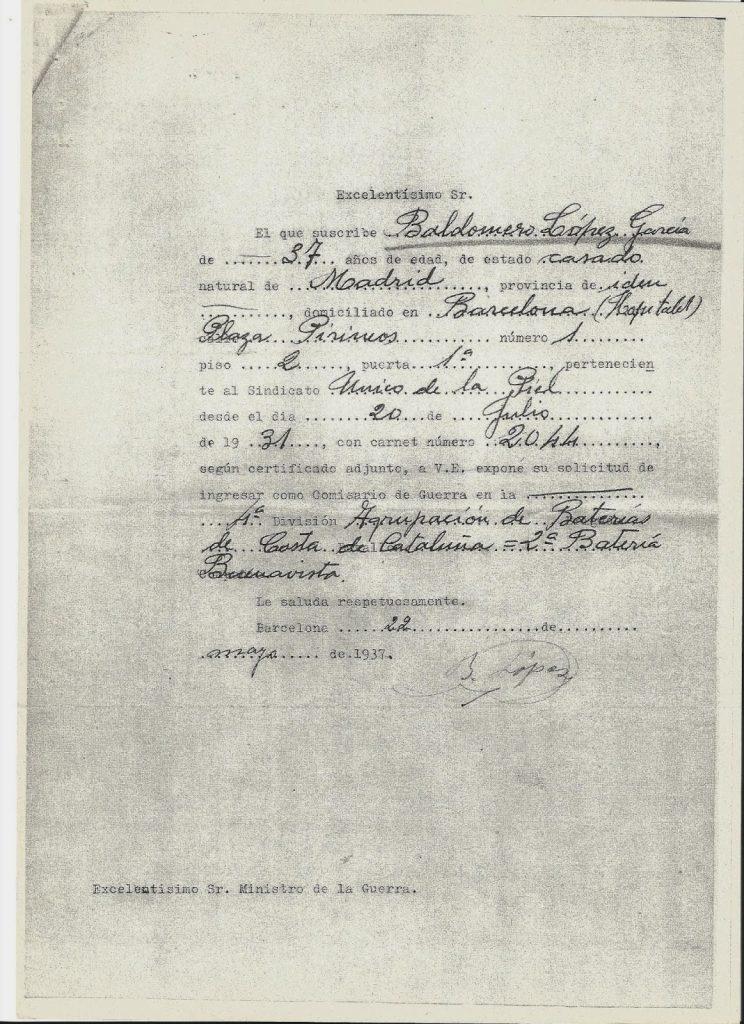 documento comisario de guerra 4 division bateria buenavista