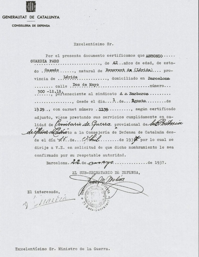 documento solicitud bateria alvarez de castro hechos de mayo 1937