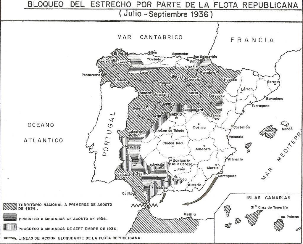 mapa bloqueo del estrecho por parte de la republica