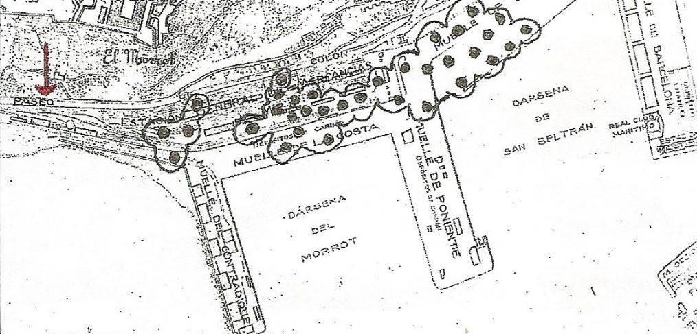 mapa bombardeo puerto de barcelona