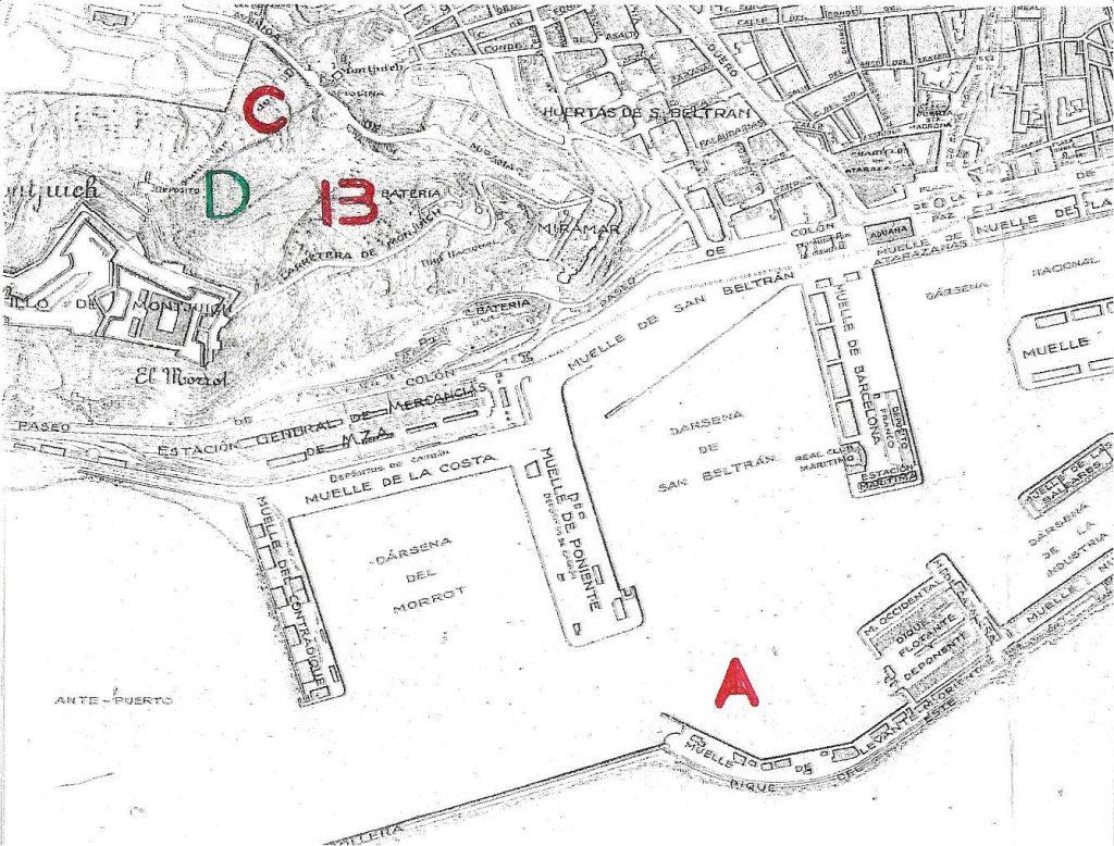 mapa bombardeo barcelona eugenio di savoia