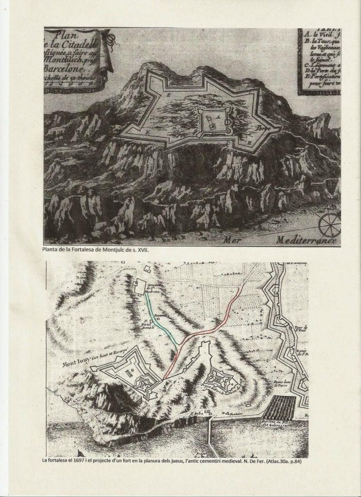 mapa murallas montaña de montjuic