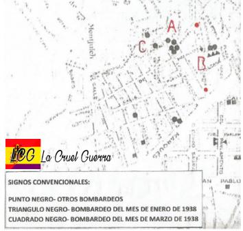 plano de los lugares afectados por el bombardeo de barcelona
